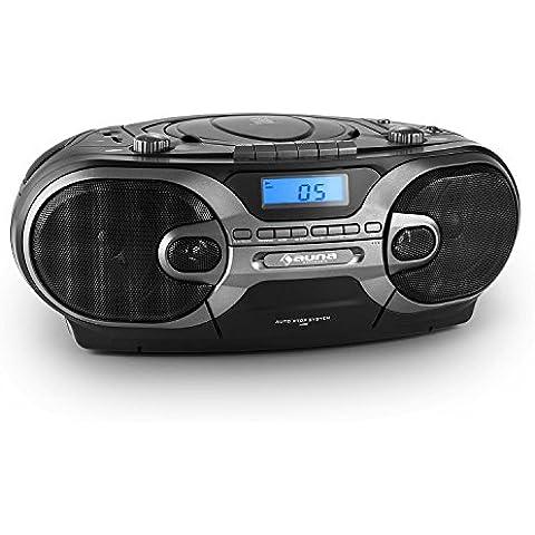 auna RCD 230 Boombox portátil (estéreo portátil, reproductor de CD, MP3, puerto USB, entrada tarjeta SD, AUX, radio AM/FM, cassette, 2 altavoces integrados, programable) -