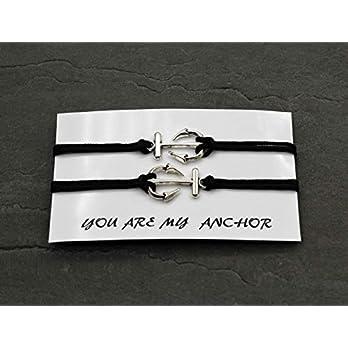 Partnerarmbänder Anker Armband 2x Surfer Armband Schwarz Blau Dunkelblau Rosa individuellisierbar Freundschaft Geschenk…