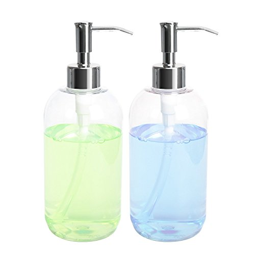 Soap Dispensers - Plastic Bottles ULG Dishwashing Liquid Hand Soap Countertop Lotion Set Refillable Clear Press Bottle with Stainless Steel Pump For Shower Shampoo Cream Kitchen Bathroom 16oz 2 Pcs