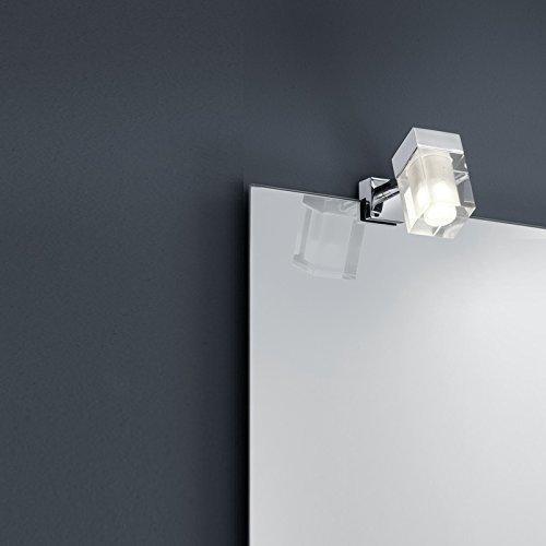 LED Bad-Spiegelklemmleuchte mit 3Watt COB-LED, IP44 in Chrom und Glas, einzeln + Extra 1x GU10 LED Leuchtmittel zur freien Nutzung