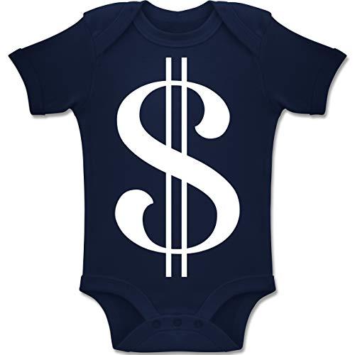 Shirtracer Karneval und Fasching Baby - Dollar Kostüm weiß - 6-12 Monate - Navy Blau - BZ10 - Baby Body Kurzarm Jungen Mädchen (Dollar Baby Kostüm)