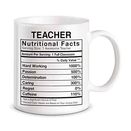 Teaching Gifts for World's Best Teachers Ever Teacher Nutritional Facts Label Klassenzimmer-Dekoration, lustige Gag Geschenkideen Keramik Kaffeetasse Teetasse
