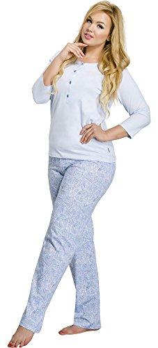 Merry Style Damen Schlafanzug 2008 Blau-2A