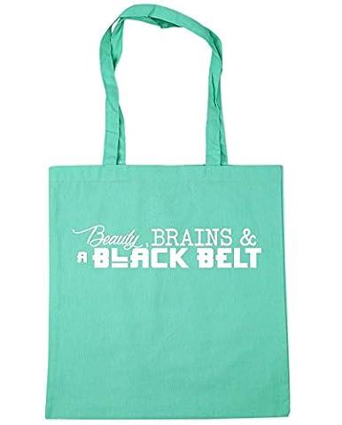 HippoWarehouse Beauty, Brains & a Black Belt Tote Shopping Gym Beach Bag 42cm x38cm, 10 litres