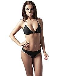 Urban Classics Ladies Triangle Bikini, Maillot de Bain Deux Pièces Femme, Schwarz/Weiß X-Small