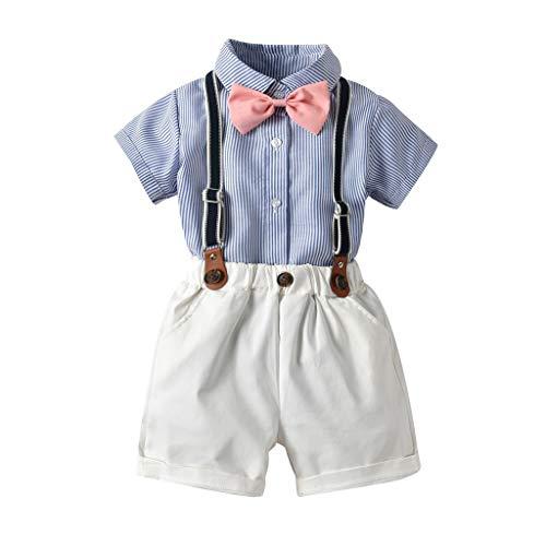 Pwtchenty Kinder Baby Bekleidungsset Jungen Sommer Gentleman Krawatte Kurzarmhemd + Hosenträger Shorts Set Strap Formal Neugeborene Party Outfit Kinderkleidung Spielanzug Outfits Set