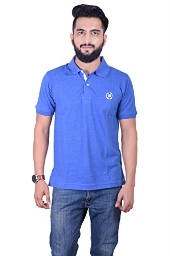 Bayside Clothing Mens Blue Collared Polo T-Shirt 2 Button Fastening Embroidered Short Sleeve All Sizes Large