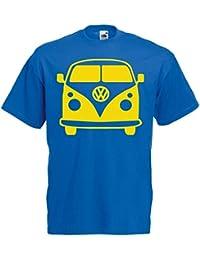 Mens Blue VW Camper Van Hippy Festival T Shirt Yellow Vinyl Print Vanlife
