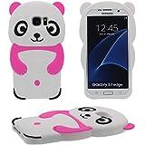 Samsung Galaxy S7 Edge Coque Case ( Blanc ), Mignonne Cartoon Panda Série Divers Couleur Animal Type Silicone Gel Doux Housse de Protection le Style Fille Dame