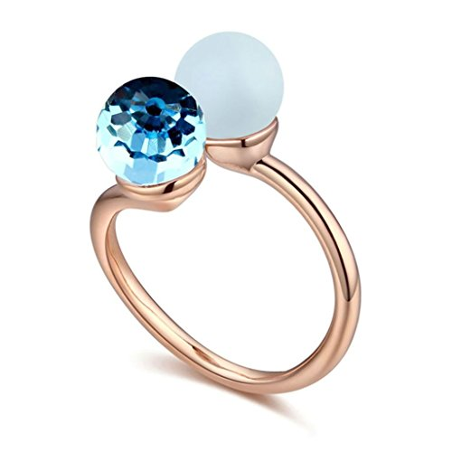 Epinki Gold Plated Ring, Womens Light Blue Ball Cubic Zirconia Freshwater Pear Ring Size M 1/2