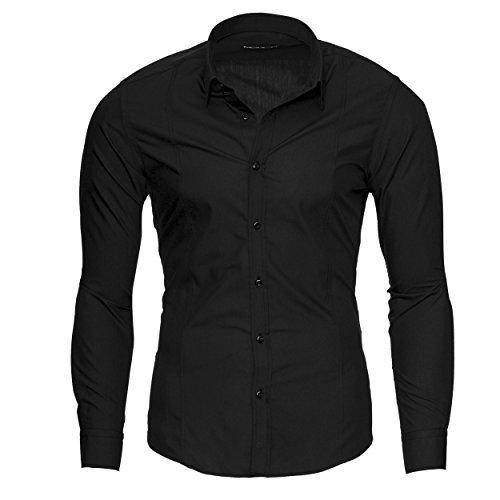 MERISH Slim Fit Hommes Chemise à manches longue Chemise Business Button Down, Modell 204 Noir