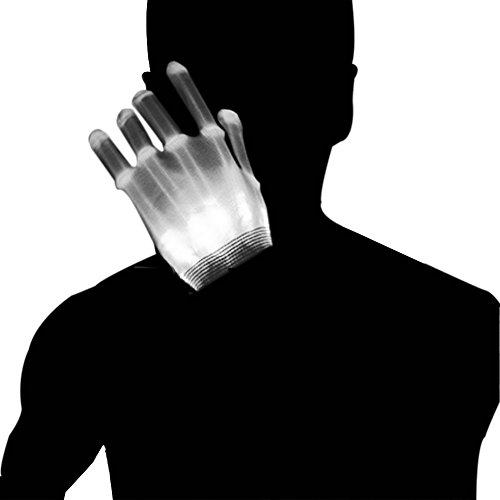 Flash Blue Kostüm - Dsaren LED Handschuhe Blinkt Bunte Handschuhe für Halloween, Weihnacht, Raves Party und Clubs, Spaßgeschenk (Weiß)