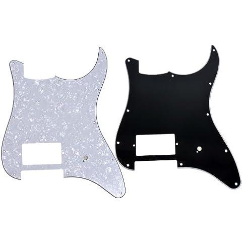 Kmise, 11 fori, 3 Veli, un Humbucker and Frost-Battipenna per chitarra, motivo: Fender Strat di ricambio, confezione da 2 pezzi, colore: bianco perla/tappo antipolvere, colore: nero