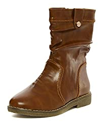 Flat n Heels Womens Tan Synthetic Boots (38 EU)