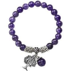 Jovivi 8mm-Bracelet en Pierre Améthyste Perles d'Energie Pierre Précieuse Extensible Elastique Tibétain Bouddhiste avec Pendentif Arbre de la Vie