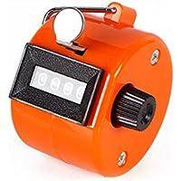 Ndier Contatore a Mano, Contatore Meccanico a 4 Cifre con Anello Portabile Contatore Manuale Tally Counter (Arancio)