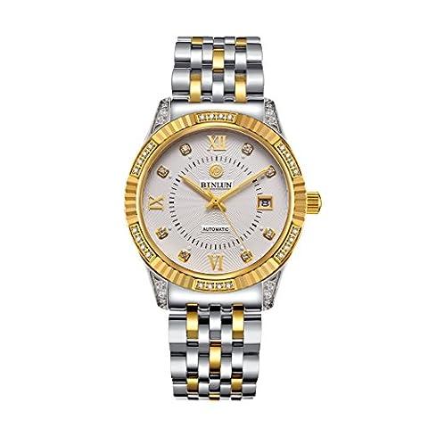binlun Gents Original 18kt Tag Gold kombiniert Silber Edelstahl Armbanduhr mit Datum
