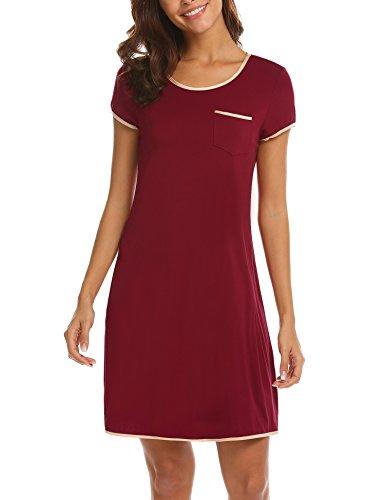 5c594a74d64b34 MAXMODA Damen Baumwolle Nachthemd Kleid Nachtwäsche Negligees Kurzarm  Sommer Schlafhemd Wein Rot L