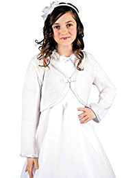 MGT-Shop Mädchen Kommunionbolero Kommunionsbolero Kommunionsjacke Kommunionjacke Cape Bolero Jacke MK-36 weiß