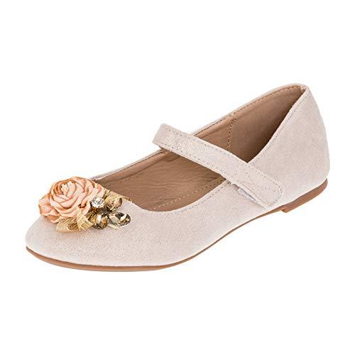 Edle Festliche Kinder Mädchen Prinzessinnen Schuhe Ballerinas mit Schnalle M518go Gold 31 EU