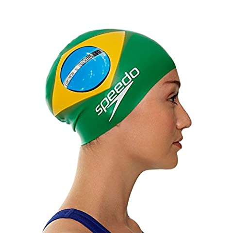 Speedo Unisex Adult Silicone National Flag Swimming Cap - Brazil