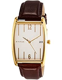 Titan Analog White Dial Men's Watch-1677YL01