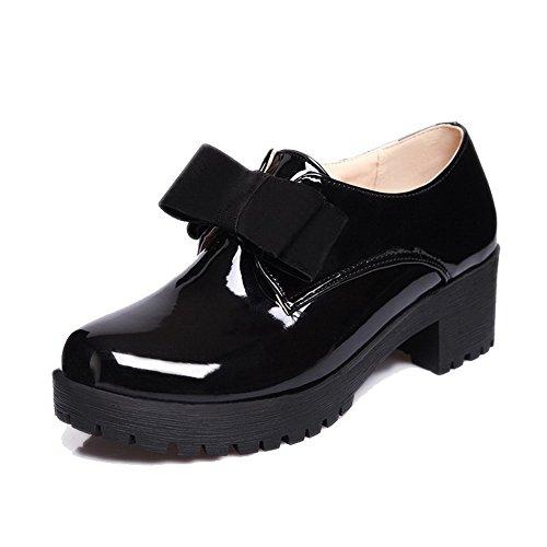 AgooLar Femme Tire Rond à Talon Correct Pu Cuir Couleur Unie Chaussures Légeres Noir