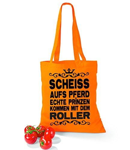 Artdiktat Baumwolltasche Scheiß auf´s Pferd - Echte Prinzen kommen mit dem Roller yellow orange