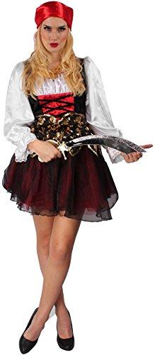 Piratenbraut mit Kopftuch in schwarz/weiß/rot/gold | Größe 44 | Piratin-Kostüm (Hübsche Halloween Kostüme Ideen)