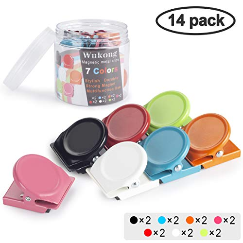 Wukong 14 PCS 7 Colorear Metal Magnetic Clips Imanes