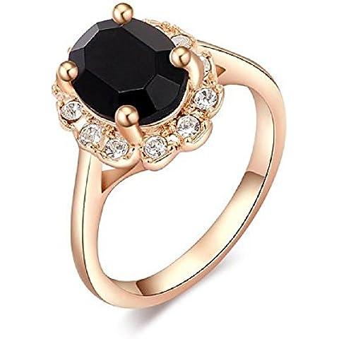 Bling fashion anello placcato in oro rosa 18K con diamante rotondo nero