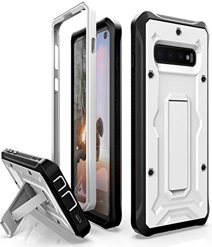 ArmadilloTek Schutzhülle für Galaxy S10, robust, Militärqualität, mit Standfunktion, Nicht S10+ Plus oder S10e, weiß