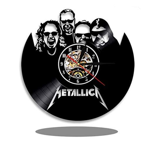 wczzh 12 Zoll(30cm) Modern Quartz Lautlos Wanduhr Uhr Uhren Wall Clock Band Vinyl Schallplatte Wanduhr 4 Personen Gruppe