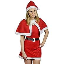 COM-FOUR® Weihnachtskostüm Verkleidung Weihnachten Christmas X-Mas Mantel Mütze Kleid