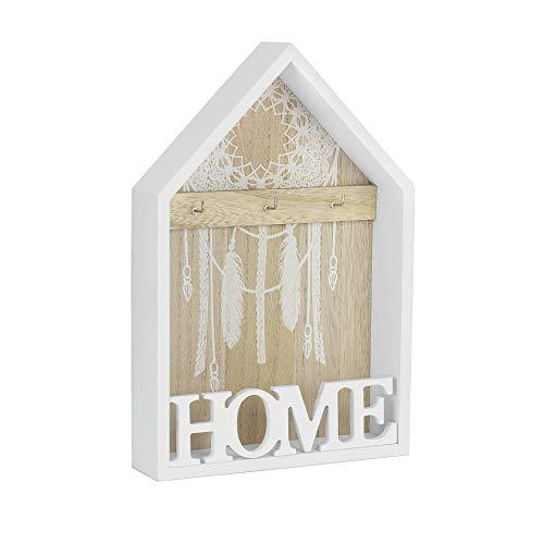 Metradex Schlüsselbrett aus Holz mit Ablage zum aufhängen oder aufstellen Home 20 x 30 cm weiß: Schlüsselleiste Schlüsselkasten Schlüsselboard -