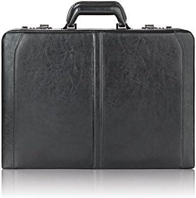 Solo in pelle di alta alta alta qualità per computer portatile 40,6 cm agganciato, hard-sided con lucchetti a combinazione, Nero | Costi Moderati  | Prese tedesche  774e03