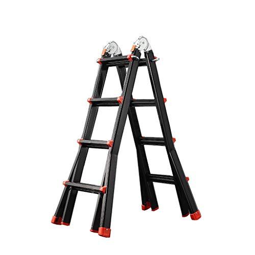 Teleskop Leiter Multi-Use-Riesenleiter, Stufen Heavy Duty Aluminium-Auszugsleiter Haushalt Outdoor DIY Schwarz (Color : Black, Size : 4.6m) (Teleskop-leiter Multi)