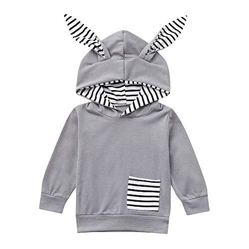 sunnymi 0-4 Jahre Baby Mädchen Jungen Sweatshirt Cartoon Ear Striped Hooded Kleidung Set -