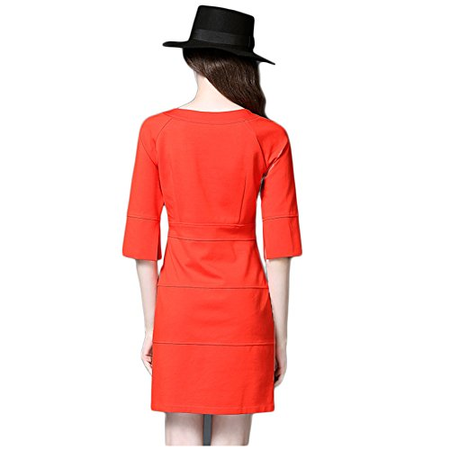 June's Young Femmes Robe Bureau des affaires et Travail Cérémonie Soirée Manches courtes Demoiselle Rouge