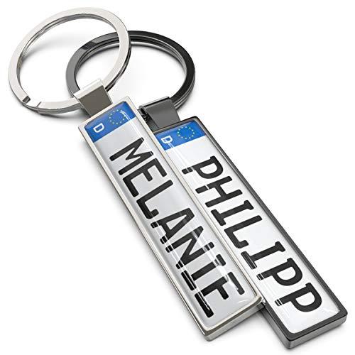 Wunderding Kennzeichen Schlüsselanhänger mit Namen - Personalisiertes Mini Kfz-Kennzeichen als Schlüssel-Anhänger, Männer und leidenschaftliche Autofans (Silber)