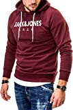 JACK & JONES Herren Hoodie Kapuzenpullover Sweatshirt (Large, Port Royale/Elements)