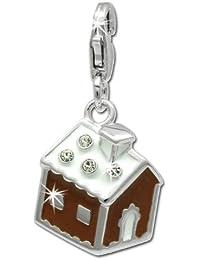 SilberDream Charm Lebkuchenhaus 925 Sterling Silber Charms Anhänger für Armband Kette Ohrring FC812N
