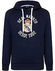 Real Madrid Sudadera Oficial con Capucha - para Hombre - con el Escudo del Club -