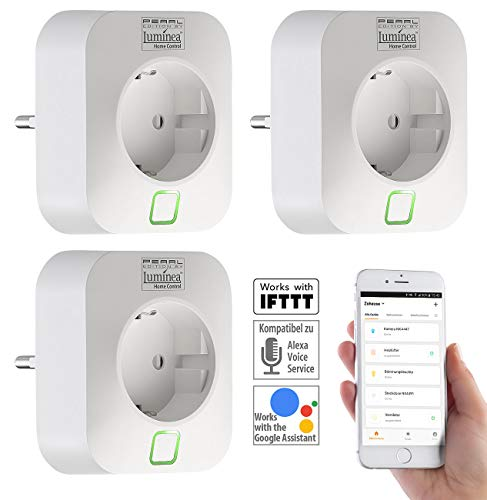 Luminea Home Control Smart Home Steckdose: 3er-Set WLAN-Steckdosen, Amazon Alexa & Google Assistant komp, 16 A (WLAN Stecker)
