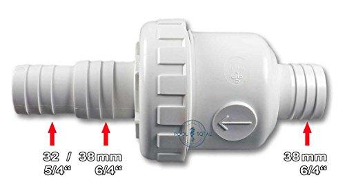 Rückschlagventil für Pool - Schwimmbad mit 32 + 38 mm Schlauchanschluss