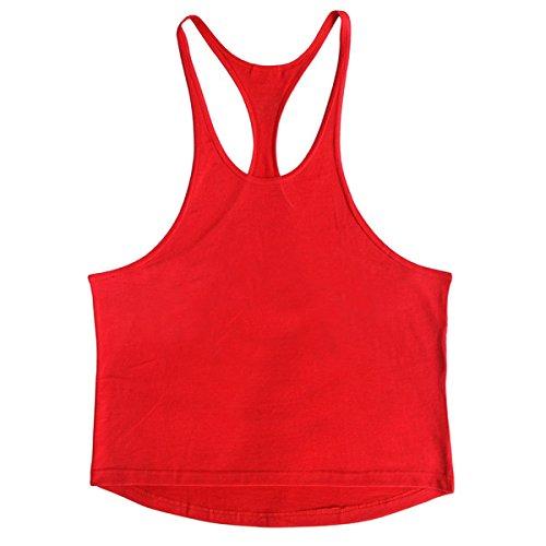 Uomo Cotone Colore Solido Cotone Fitness Canotta Vest (2 Confezioni) Red