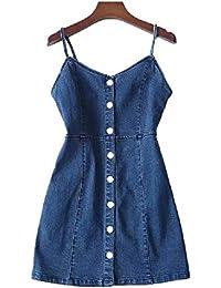 FuweiEncore Sling Dress for Women Summer New Off Spallacci Vestito con  scollo a V Bottoni Abito 766225d1cb4