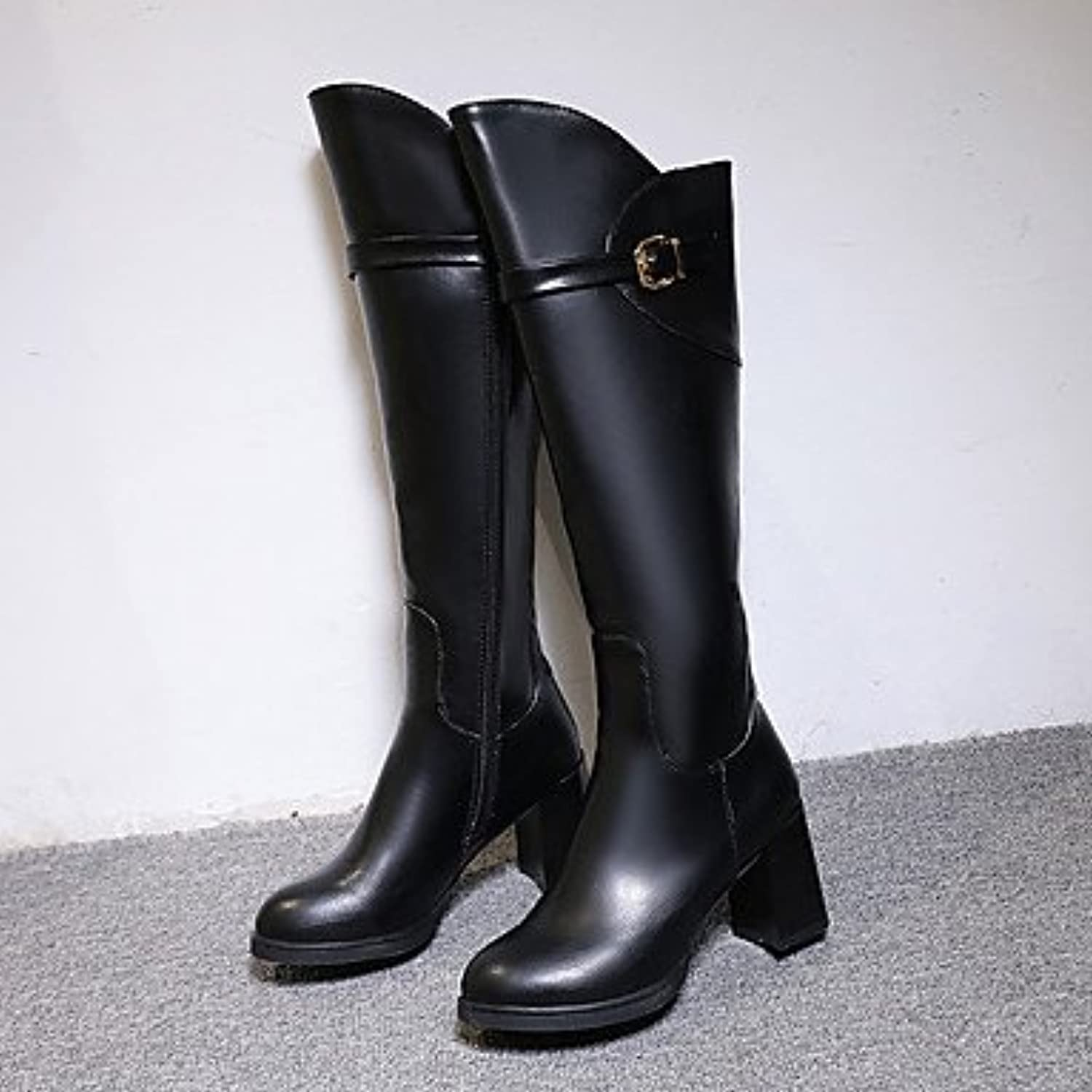 20d2acb76418 RTRY Women S Shoes Pu Fall Fall Fall Winter Comfort Boots Low Heel Knee  High Boots For Casual Black B0784T6PCW Parent 590e4c