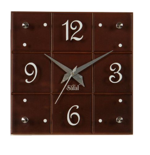 Safal Wooden Wall Clock (22.86 cm x 22.86 cm, Brown)