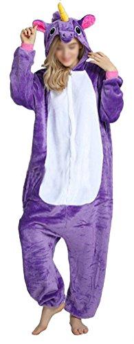 SMITHROAD Jumpsuit Tier Karton Fasching Halloween Kostüm Sleepsuit Cosplay Fleece-Overall Pyjama Schlafanzug Erwachsene Unisex Nachtwäsche S/M/L/XL (L, Lila (M&m's Kostüm Halloween)